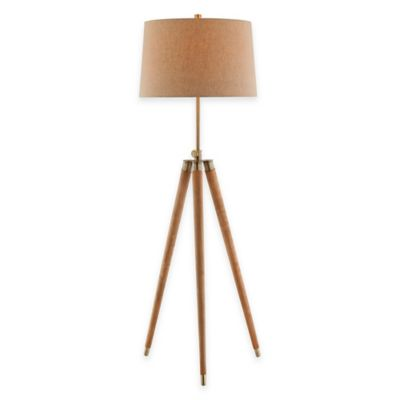 Stein World Dreyer Tripod Floor Lamp with Linen Shade in Brown/Natural