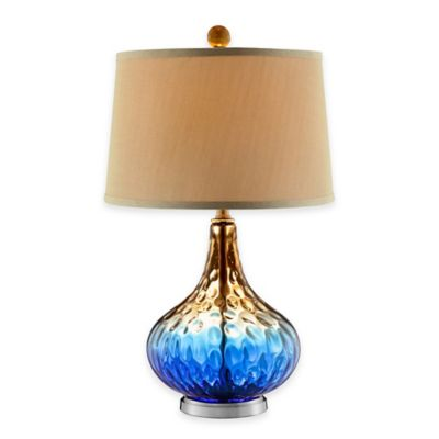 Stein World Shelley Art Glass Table Lamp in Cobalt Blue/Gold