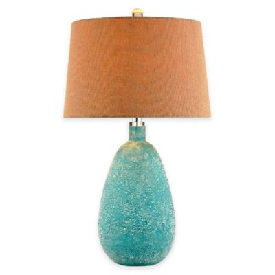 Stein World Amelie Art Glass Table Lamp with Blue Sandblast Finish