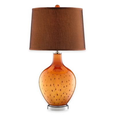 Stein World October Seeded Glass Table Lamp in Lustrous Orange