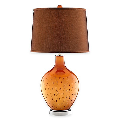 Seeded glass table lamp in lustrous orange from bed bath amp beyond