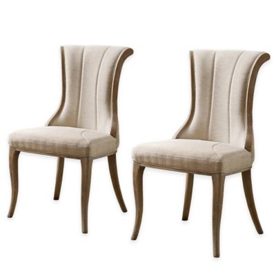 Linon Home Shiraz Flared Back Chairs in Natural (Set of 2)