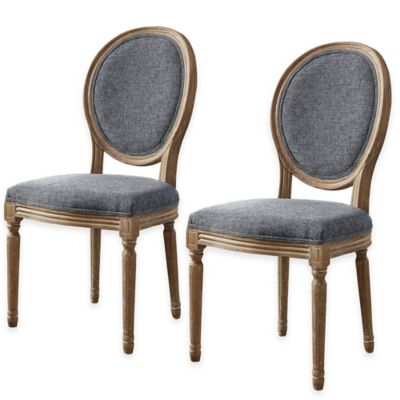 Linon Home Shiraz Linen Oval Back Chairs in Natural (Set of 2)