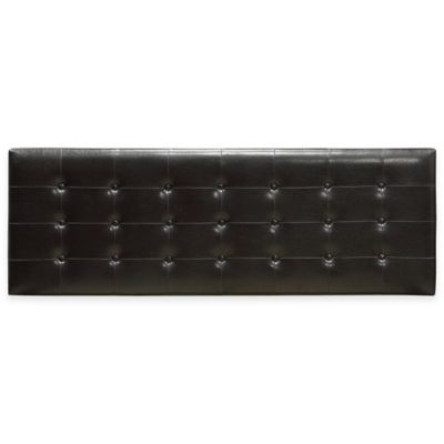 Ledge Upholstered Tufted King Headboard in Chocolate