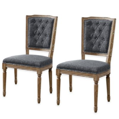 Shiraz Tufted Back Chairs in Charcoal (Set of 2)