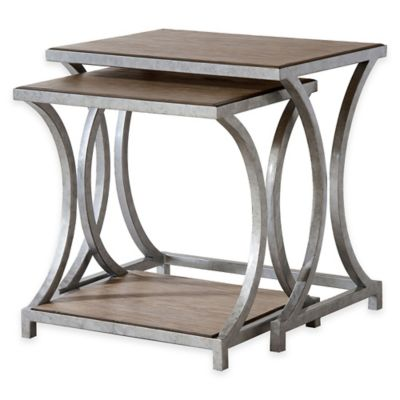 Palos Heights Nesting Tables in Weathered Oak
