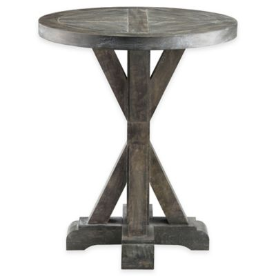 Stein World Bridgeport Round End Table in Weathered Grey