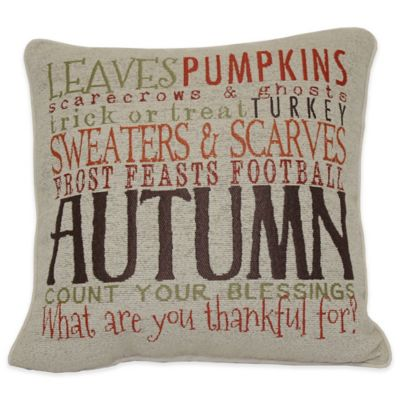 Autumn Word Square Throw Pillow in Taupe