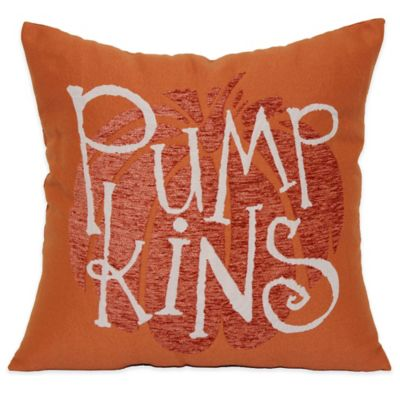 Tapestry-Pumpkin Word 18-Inch Square Throw Pillow in Orange
