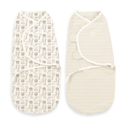 Little Me® Small/Medium Original Swaddle by SwaddleMe® 2-Pack Safari Swaddles Tan/White