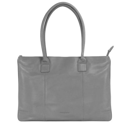 Leather Laptop Tote Bag in Grey