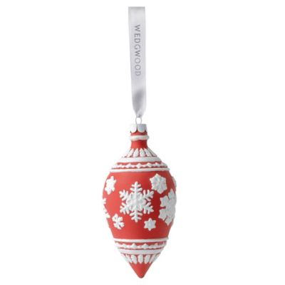 Wedgewood® Snowflake Teardrop Ornament in Red