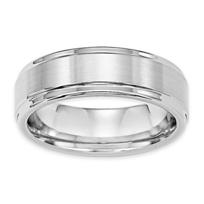 Triton® White Tungsten Carbide Satin Finish Size 10.5 Men's Comfort-Fit Wedding Band
