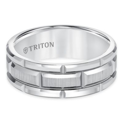 Triton® White Tungsten Carbide Grooved Size 10 Men's Comfort-Fit Wedding Band