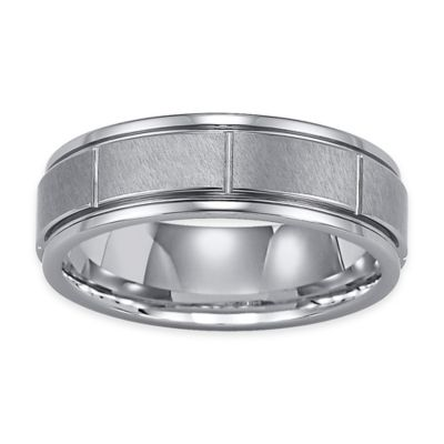Triton® Tungsten Carbide Vertical Groove Size 12.5 Men's Comfort-Fit Wedding Band