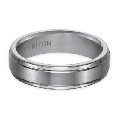 Triton® Tungsten Carbide Satin Finish Center with Step Edge Size 8 Comfort-Fit Wedding Band