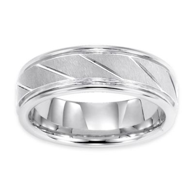 Triton® White Tungsten Carbide Diagonal Groove Size 8.5 Men's Comfort-Fit Wedding Band