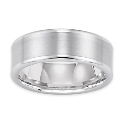 Triton® White Tungsten Satin Finish Center with Rounded Edge Size 8 Comfort-Fit Wedding Band