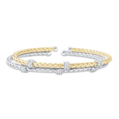 Charles Garnier Paolo Plated Sterling Silver Cubic Zirconia Roundelle Mesh Woven Bangle Bracelet