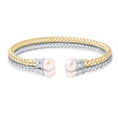 Charles Garnier Paolo 18K Gold-Plated Sterling Silver CZ/Freshwater Cultured Pearl Mesh Woven Bangle