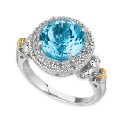 Phillip Gavriel Sterling Silver and 18K Gold .08 cttw Diamond and Round Topaz Halo Size 6 Ring