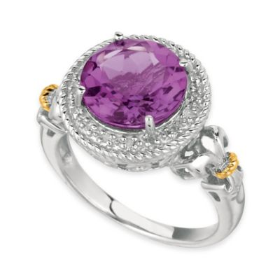 Phillip Gavriel Sterling Silver and 18K Gold-Plated .08 cttw Diamond and Amethyst Size 7 Ring
