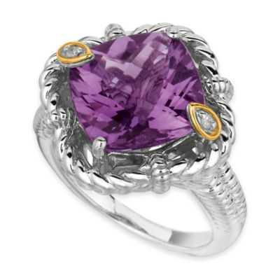 Phillip Gavriel Sterling Silver and 18K Gold-Plated .02 cttw Diamond and Amethyst Size 7 Ring