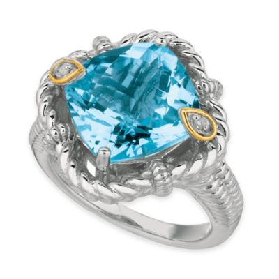 Phillip Gavriel Sterling Silver and 18K Gold .02 cttw Diamond and Topaz Twisted Rope Size 8 Ring