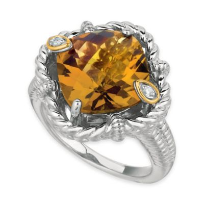 Phillip Gavriel Sterling Silver 18K Gold .02 cttw Diamond and Whiskey Quartz Rope Size 7 Ring