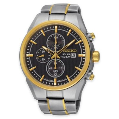 Seiko Men's 43mm Grey Dial Solar Chronograph Watch in 2-Tone Titanium