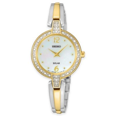 Seiko Ladies' 26mm Swarovski® Crystal-Accented Solar Bracelet Watch in 2-Tone Stainless Steel