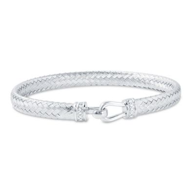 Charles Garnier Paolo Plated Sterling Silver CZ-Accent Flat Woven Hook and Eye Bracelet