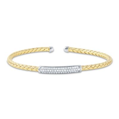 Charles Garnier Paolo 18K Gold-Plated Sterling Silver CZ Bar Woven Cuff Bracelet