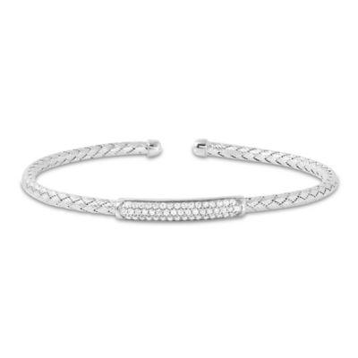 Charles Garnier Paolo Sterling Silver CZ Bar Woven Cuff Bracelet