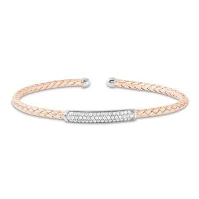 Charles Garnier Paolo Rose Gold-Plated Sterling Silver CZ Bar Woven Cuff Bracelet
