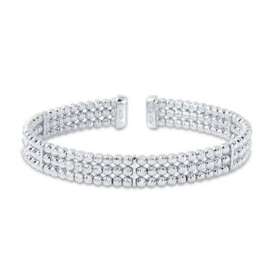 Charles Garnier Diamantini Plated Sterling Silver 6.5-Inch 3-Row Cuff Bracelet with 3mm Beads