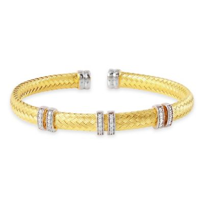 Charles Garnier Paolo Gold-Plated Sterling Silver CZ 6-Station Flat Woven Bangle Bracelet
