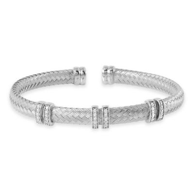 Charles Garnier Paolo Plated Sterling Silver CZ 6-Station Flat Woven Bangle Bracelet