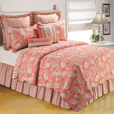 Natural Shells Twin Bedspread in Coral