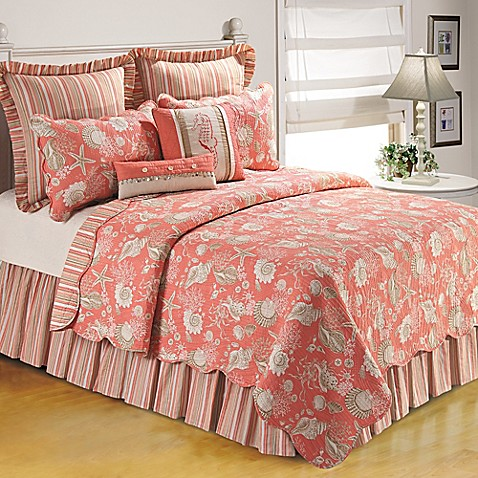 Buy Natural Shells Twin Bedspread In Coral From Bed Bath Beyond
