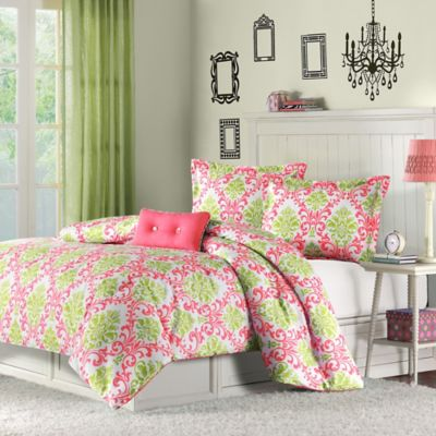 Mizone Katelyn 4-Piece Reversible Full/Queen Comforter Set in Coral