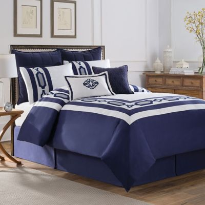 Soho New York Home Hotel Embroidery Queen Comforter Set in Blue