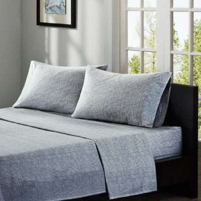 INK+IVY Cora 200-Thread Count Printed Twin Sheet Set in Navy