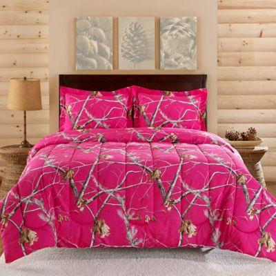 Realtree® Brights Camo Collection 3-Piece Queen Comforter Set in Fuschia