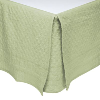 King Charles Matelassé King Bed Skirt in Sage