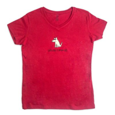 "Teddy the Dog Small ""Cats Don't Know Sit"" Ladies V-Neck Tee in Garnet"
