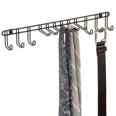 InterDesign® Classico 12-Hook Wall-Mount Tie/Belt Rack in Bronze