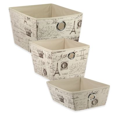 Home Basics® Small Paris Pattern Storage Tote Box