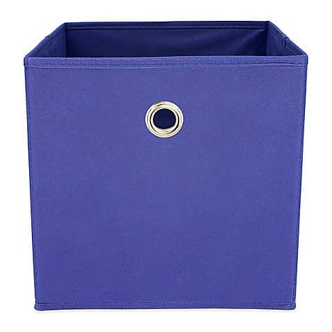 Buy home basics storage bin with handle in navy from bed for Navy bathroom bin