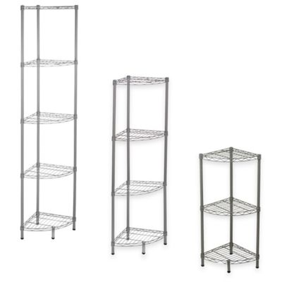 Home Basics® 3-Tier Wire Corner Shelf in Steel Grey
